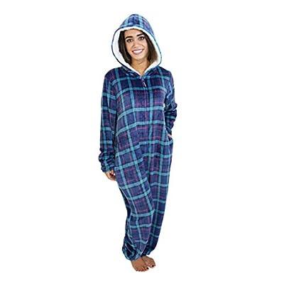 Cherokee Women's Onesie Plush Fabric Hooded Pajama Sleepwear, Plaid Two, Small