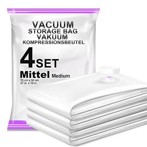 Vacbird 4 Stück Vakuumbeutel (50*70cm), Aufbewahrungsbeutel Reise Vakuum Wiederverwendbar Kleiderbeutel für Kleidung Bettdecken Bettwäsche Kissen Wolldecken Vorhänge Handtücher und vieles mehr