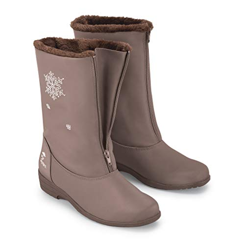 Totes Snowflake Wide Width Winter Boots with Zip Front Taupe