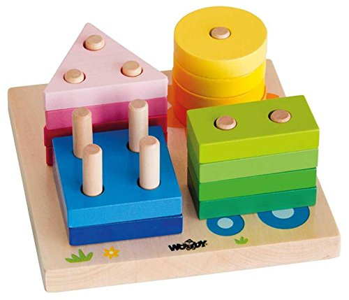 Woodyland 15 x 15 cm Didactic Toys House and Sun Stack and Tri Board (16 pièces)