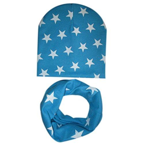 kingko® Bébé Chapeau Echarpe Garçons Filles Infant Enfants Écharpe Enfant Écharpe Chapeaux Casquettes (Bleu Ciel)