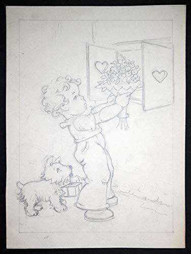Junge Blumen Hund Fenster Herzen Tilly von Baumgarten Original Zeichnung