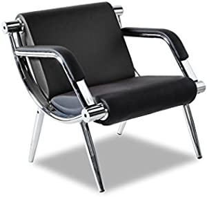 Bestmart INC PU Leather Office Reception Chair Executive Side Waiting Room Visitor Guest Sofa (Black, 1)