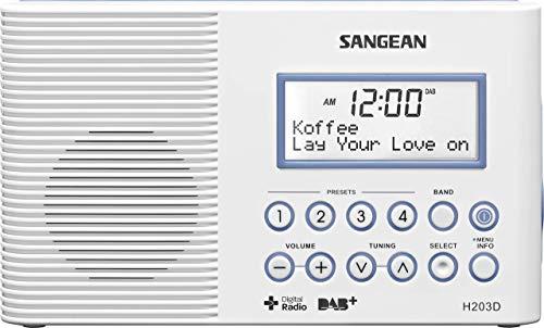 Sangean H-203 Tragbares Radio | Wasserdichtes DAB + und UKW-Radio | Digitale badradio | Mit Taschenlampe | weiß