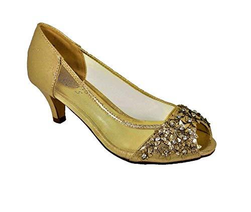 Sandalias de tacón bajo para mujer, para boda, novia, dama de honor,...