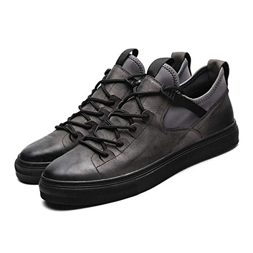 Genuine Leather First Grade Cow Leather Sneakers Men's Casual Shoes Fashion Male Lace up Flats Breathable Black Shoes Gray 7.5