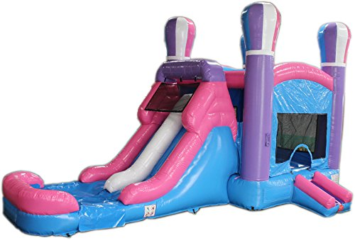 Lowest Price! Commercial Grade 28 Foot Pink Balloon Bounce House Wet or Dry Slide Combo