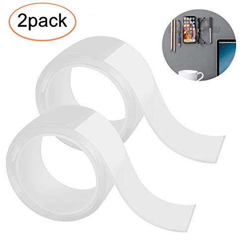 INTVN 2巻 テープ 両面テープ 魔法テープ はがせる粘着マットテープ 強力粘着 繰り返し 防水 耐熱 強力 滑り止め 洗濯可能 多用途 屋内 屋外 車輛用 再利用可能 (3cmx2mmx1m)