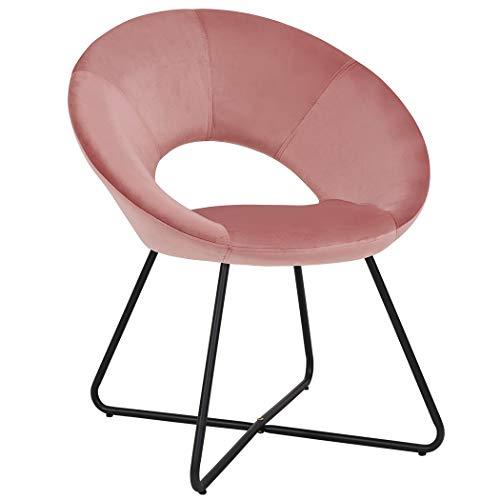 Duhome Esszimmerstuhl Stoffbezug (Samt) Konferenzstuhl Besucherstuhl herausragendes Design Farbauswahl 439D, Farbe:Pink+ Schwarzes Gestell, Material:Samt