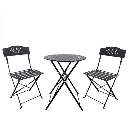 SUNDO Bistro Set aus Metall, Balkonmöbel Set 3 Teilig, Gartenset klappbar, Balkon Set aus 1 x runder Tisch und 2 x Stühlen, Bistrogarnitur für Balkon Garten Terrasse (Schwarz)