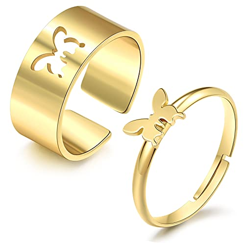 Matching Butterfly Rings for Couples Friendship Rings for Best Friends Promise Couple Ring for Her(Gold Matching Butterfly Rings)