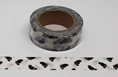 wolga-kreativ Washi Tape Baby Füße schwarz weiß Masking Dekoband dekorative Klebeband für Scrapbook Bullet Journal Deko Hochzeit filofax Zubehör washitape bastel-bedarf