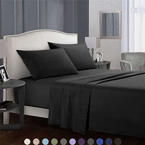 SaDiao Bedding 4 Piece Bed Sheet Set -Soft Brushed Microfibre -Deep Pockets Fitted Sheet, Flat Sheet with 2 Pillowcases - Wrinkle,Stain Resistant,Machine Washable (Super King Black)