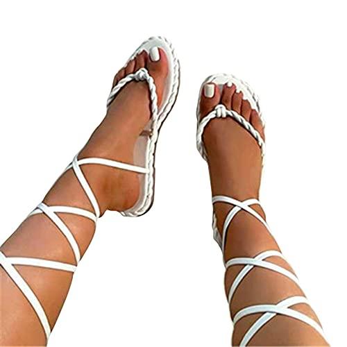 Sandalias Mujer Verano Nuevo 2021 sandalias planas Gladiador Sandalias Playa Rodilla Botas Altas Cordón Chanclas para Mujer Zapatos Sandalias de Punta Abierta Roma Sandalias Fiesta Flip flop