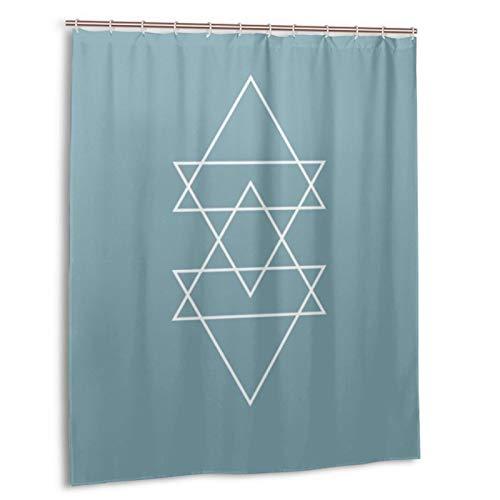 Duschvorhang für Badezimmer, wasserdicht, geometrisch, modern, Schieferblau, minimalistisch, Dreieck, strapazierfähig, mit 12 Haken, für Badezimmer, dekorativ, 152 x 183 cm