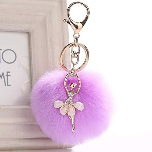 HUIHU Fake Rabbit Fur Ball Keychain Pompom Key Chain Pom Pom Key Rings Ballet Angel Girl Pompon Women Bag Jewelry-No.3
