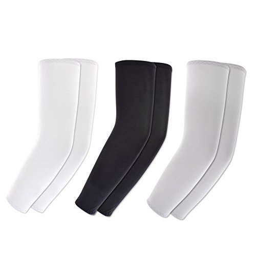 Koviss 3 Pairs of Sports Cooling Arm Sleeves UV Protection (White Black Gray)
