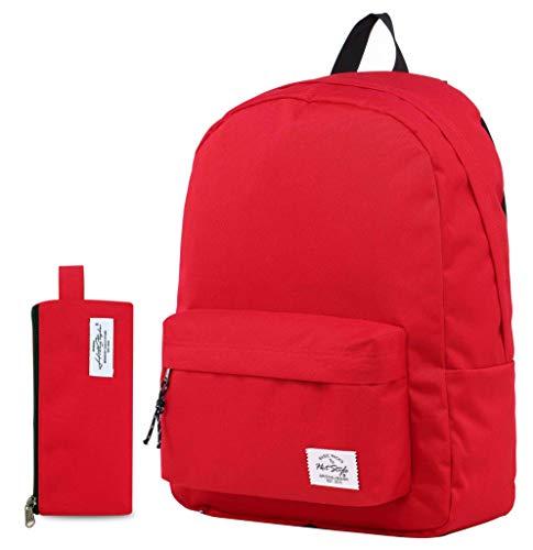 41UkHmkgeYL - Hotstyle SIMPLAY Mochila Escolar Clásico, 44x30x12,5cm, Rojo, con Estuche
