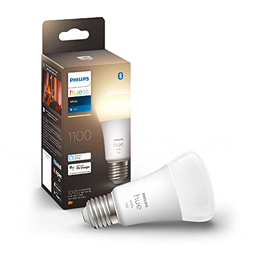 Philips Hue White 2 Lampadine LED Smart, con Bluetooth, Attacco E27, 9.5 W, Dimmerabili, 1100 Lumen, Luce Bianca Calda, Bianco