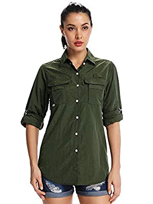 Women's Quick Dry Sun UV Protection Convertible Long Sleeve Shirts for Hiking Camping Fishing Sailing,5055,Army Green,XXL