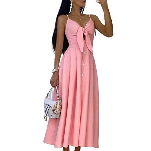 my cat Sexy Kleid mit Schleife, langes Kleid für Damen, Sommer, elegant, mit Knopf Gr. L, rose