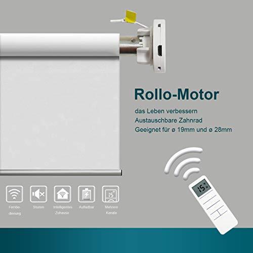 HOMEDEMO Akku Rollomotor für elektrische Innen Rollos Rollomotor für Rollos Doppelrollos und Verdunklungsrollo 19mm/28mm Austauschbare Welle Fernsteuerbar inkl. Fernbedienung