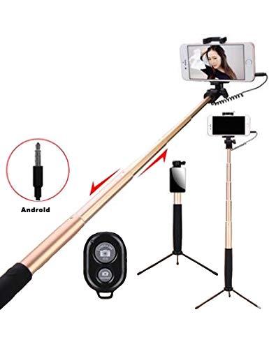 Legou Selfie Stick Statief met afstandsbediening, 3-in-1 kabel en bluetooth, instelbaar voor iPhone XS 5S 5 SE/6s/6/6 Plus, Samsung Galaxy S7/S6/Edge, Android en nog veel meer, goud