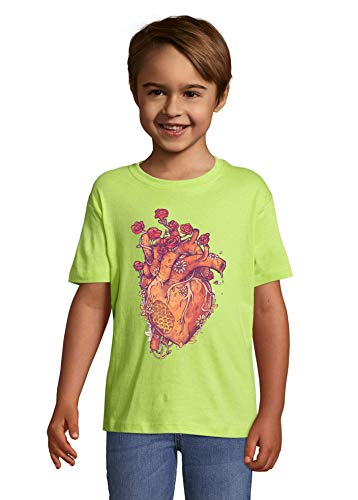 Iprints Bee Keeper Heart Honey Flowers Art Apple Green Colorful Kids T-Shirt 4 Year Old