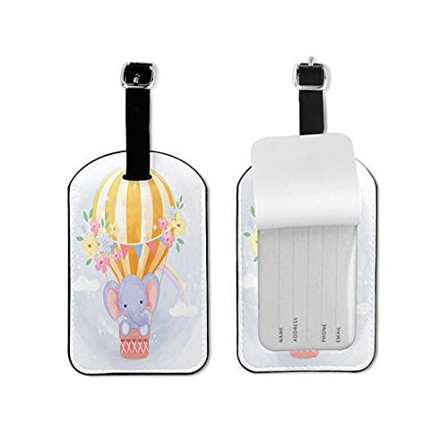 Lindo elefante volando con globo microfibra pu cuero equipaje etiqueta maleta etiquetas hombres mujeres viaje etiquetas tarjetas set etiquetas accesorios equipaje nombre etiquetas