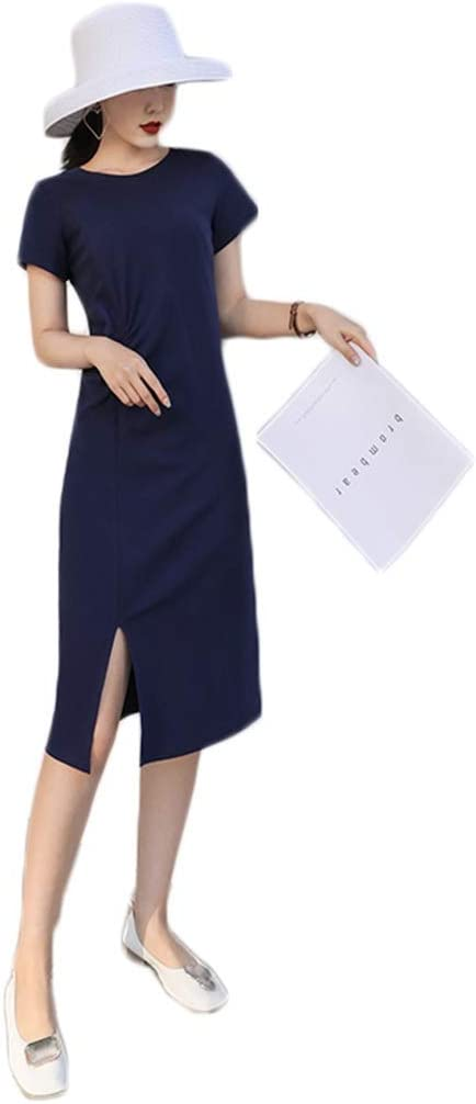 Dongjiguang Dress Cotton Long Section Large Kn Shipping included favorite Size Split