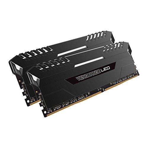 Corsair Vengeance LED - Kit de memoria Entusiasta de 16 GB (2 x 8 GB, DDR4, 2666 MHz, C16, XMP 2.0) negro con blanco LED iluminación