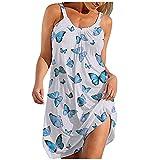 Vestido de Tirantes Largo para Mujer Sexy de Playa con Boho Falda Impreso O-Cuello Vestidos de Honda Casual Camiseta Estampado Floral Manga Larga Corto