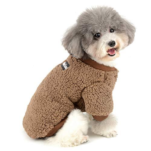 Zunea Wintermäntel für kleine Hunde Fleece Warm Hundepullover Sweater Welpen Winterjacke Chihuahua Katze Kleidung Haustier Jungen Mädchen Hundebekleidung Braun XXL