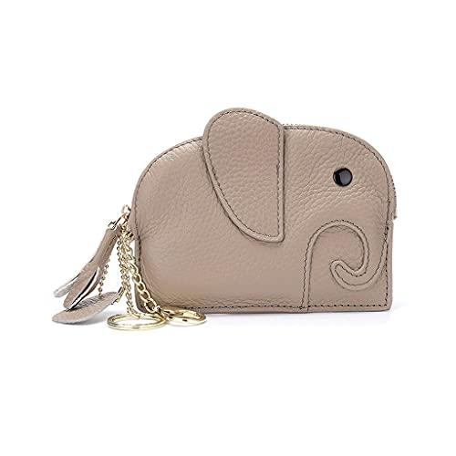 Llavero Llavero Titular de la tarjeta de crédito Cartera Tarjeta de cuero Cartera Bolso con bolsillos de monedas con cremallera para mujeres 11x14x1.5cm / 4.3x5.5x0.5inch llavero ( Color : Beige )