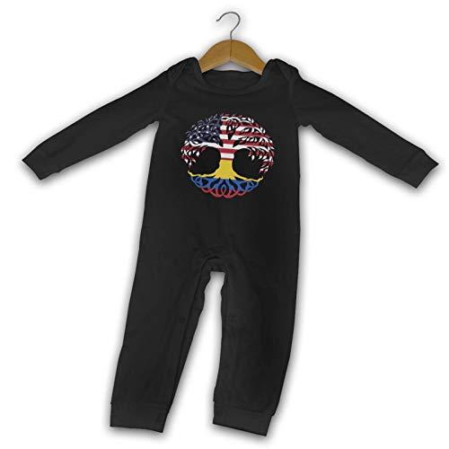 Easionerol The American Colombia Flag Newborn Gilr's Boy Kids Baby Long Sleeve Romper(12M,Black)