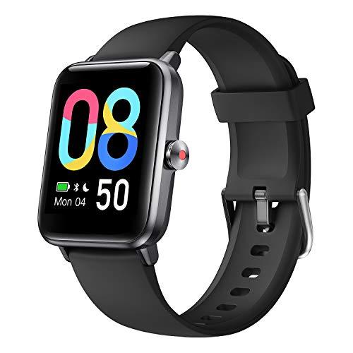 Smartwatch, Damen Herren Smart Watch mit Blutsauerstoff, 1.55\'\' Übergroß Farbdisplay, Fitness Armband mit Pulsmesser, Wasserdicht IP68, Schrittzähler Schlafmonitor, GPS Fitness Uhr für Android iOS