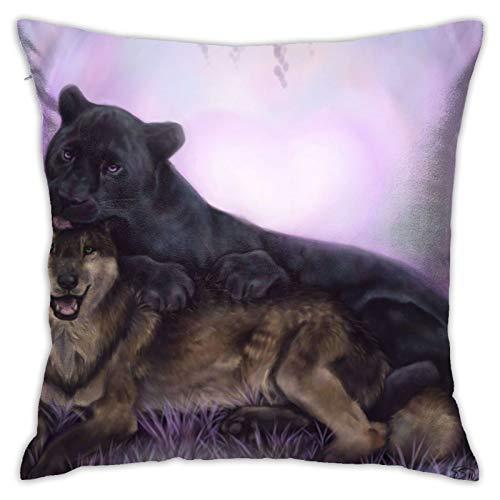 Affordable shop Animal Art - Funda de almohada decorativa para el hogar, diseño de lobo, para sofá, cama, coche, 45,72 x 45,72 cm