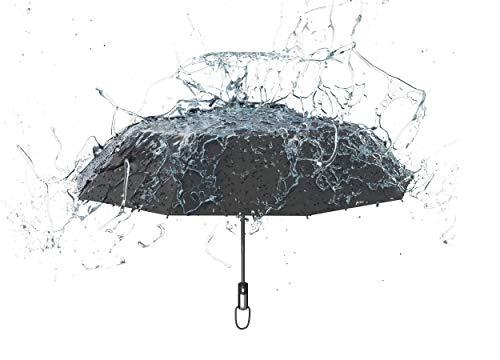 Sternenfunke Reflektierender Regenschirm groß mit Automatik für Damen und Herren als Taschenschirm, sturmfest, schwarz mit vollflächigem Reflektor [2020 Einführungsangebot]