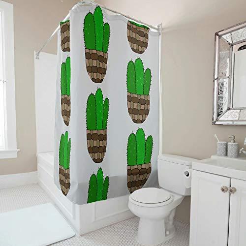 NiTIAN Duschvorhänge Kaktus in einem Korbtopf Printed Anti-Bakteriell Farbfest Vorhang B x H:150x200cm Bad Vorhang Wohnaccessoires White 120x200cm