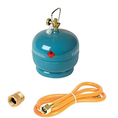 Leere befüllbare Gasflasche 2 kg / 4,8L Camping Grill Boot Propan Butan Gas + 1,5m Umfüllschlauch + Adapter