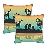 KENADVI Fundas de Almohada Siluetas de Animales africanos en la mañana con Rainbow Sky Funda de Almohada Decorativa Funda de cojín acogedora Funda de Almohada Cuadrada Sofá 22x22 2PC