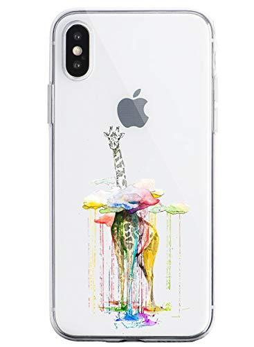Suhctup Compatible con iPhone 6 Plus/6S Plus Funda de TPU Silicona con Dibujos Lindo Animados Diseño Cárcasa Slim Transparente Suave Flexible Antigolpes Proteccion Bumper Caso,Jirafa 2