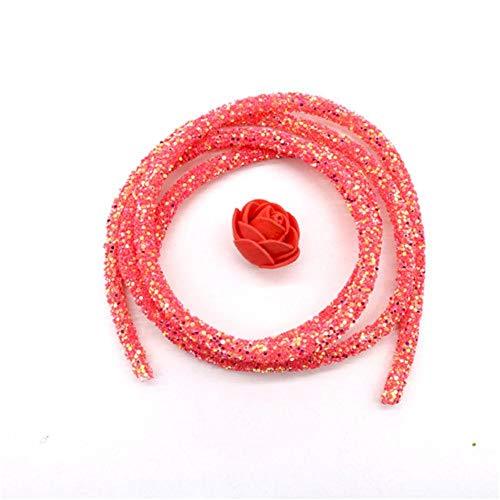 WEDSA 10 Yardas 6mm Lentejuelas Brillantes Diamantes de imitación Cuerda de Tubo Suave para Bricolaje Sandalias Pulsera Collar de Ropa Suministros de artesanía-sandía