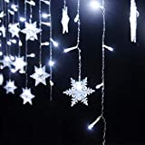 ARTSOTRE 11.5ft 96 LED Snowflakes Curtain Lights with 8 Flashing Modes Window Fairy Icicle String Lights Decoration for Home, Christmas,Wedding, Birthday (White)