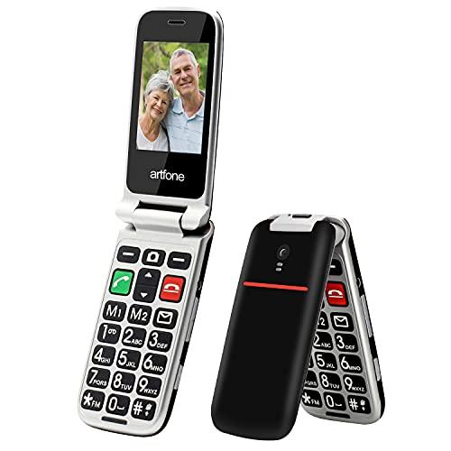 Artfone Seniorenhandy ohne Vertrag, Klapphandy Mobiltelefon Senioren-Handy Großtastenhandy mit großen Tasten 2.4 Zoll Farbdisplay Notruftaste Taschenlampe Kamera GSM Dual SIM Rentner Handy (Schwarz)