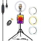 Anillo de Luz LED,13' Aro de Luz con Trípode para Movil,Selfie Ring Light Control Remoto Bluetooth,3 Modos Luz 10 Brillos para Youtube Video/Tiktok/Transmisión en Vivo/Fotografía/Maquillaje