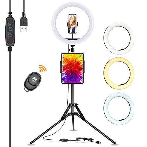 LED Ring Light with Tripod Stand large, Eletorot 13 inch Selfie Ring circle beauty Light Phone Holder tall for Vlogging/Phone Live Streaming/YouTube/TikTok/Video/Make-up