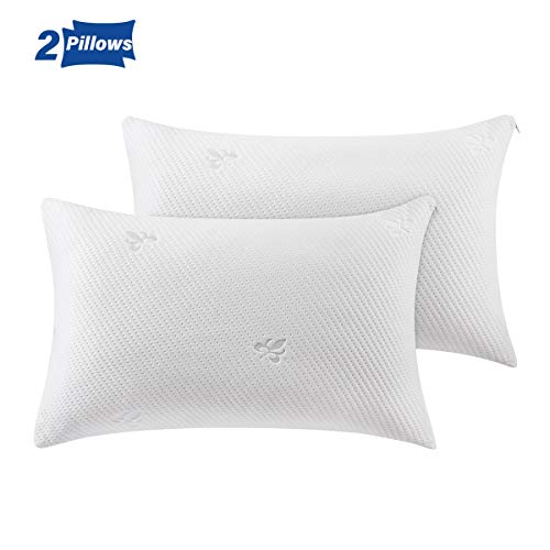 Cooling Bed Pillows for Sleeping Shredded Memory Foam Pillow Queen Size(20x30) 2 Pack with Washable Pillow Cover,Great Support Set of 2