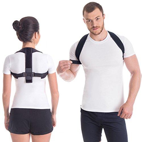 GRAZIE Haltungskorrektur Geradehalter Schulter Rücken Haltungsbandage Posture Corrector Haltungstrainer mit verstellbare Größe verstellbar aus dem hochwertigsten Neopren Schwarz Medium