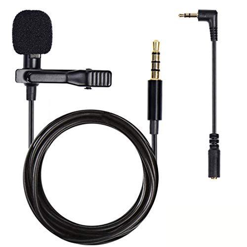 Arcopket Lapel Clip on Microphone, Lavalier Microphone Lapel Mic Omnidirectional Condenser Microphone for iPhone Android Computer PC Laptop Mic for Recording Video Conference Voice Dictation ASMR Mic